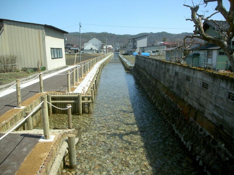 【木製水路】 長井市 撞木川