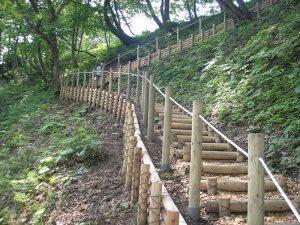 山形県遊学の森 ロープ柵・丸太階段・丸太土留め