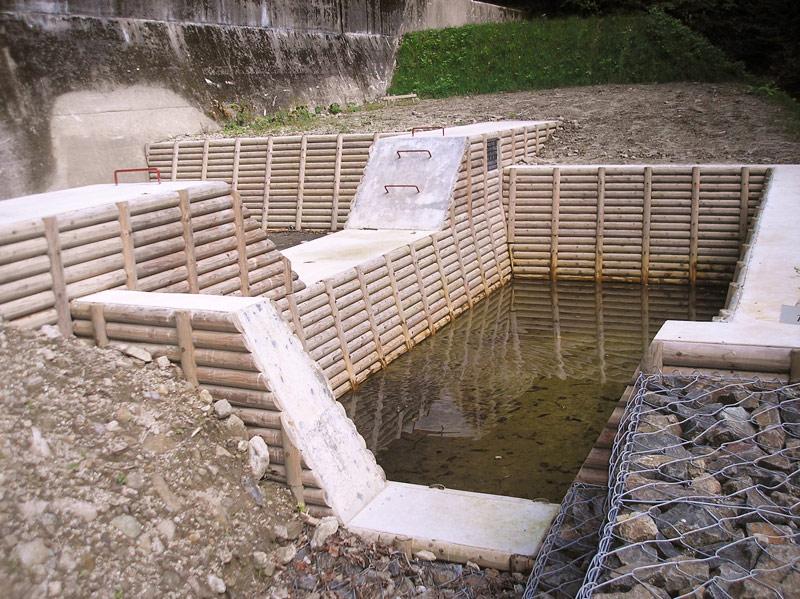 木製残存型枠パネル ウラノ沢コンクリート副ダム